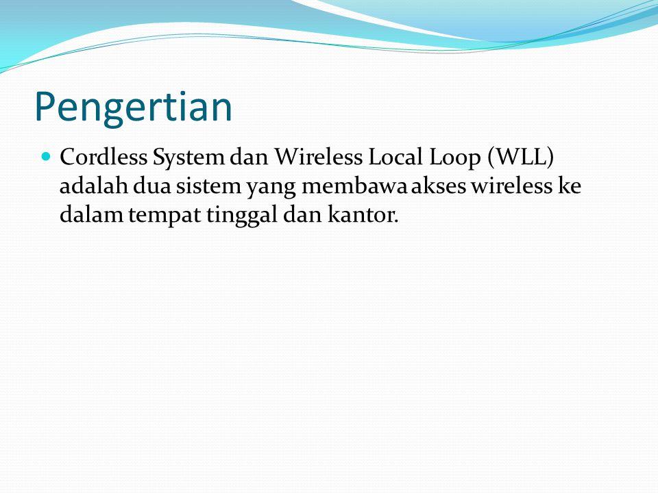 Lingkungan Operasi Sistem Cordless Tempat tinggal (rumah) – sebuah base station dapat menyediakan koneksi data dan voice Kantor Sebuah base station dapat men-support kantor berukuran kecil Untuk kantor berukuran besar digunakan base station lebih dari satu Telepoint – base station yang digunakan pada tempat umum, seperti bandara