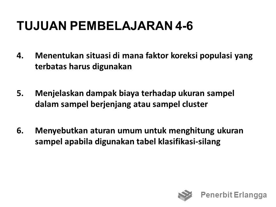 TUJUAN PEMBELAJARAN 4-6 4.Menentukan situasi di mana faktor koreksi populasi yang terbatas harus digunakan 5.Menjelaskan dampak biaya terhadap ukuran