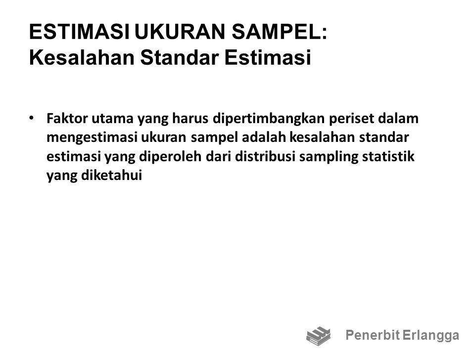 ESTIMASI UKURAN SAMPEL: Kesalahan Standar Estimasi Faktor utama yang harus dipertimbangkan periset dalam mengestimasi ukuran sampel adalah kesalahan standar estimasi yang diperoleh dari distribusi sampling statistik yang diketahui Penerbit Erlangga