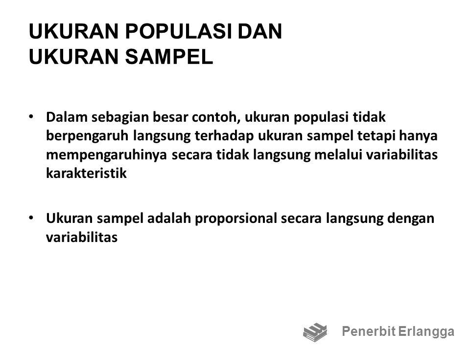 UKURAN POPULASI DAN UKURAN SAMPEL Dalam sebagian besar contoh, ukuran populasi tidak berpengaruh langsung terhadap ukuran sampel tetapi hanya mempengaruhinya secara tidak langsung melalui variabilitas karakteristik Ukuran sampel adalah proporsional secara langsung dengan variabilitas Penerbit Erlangga