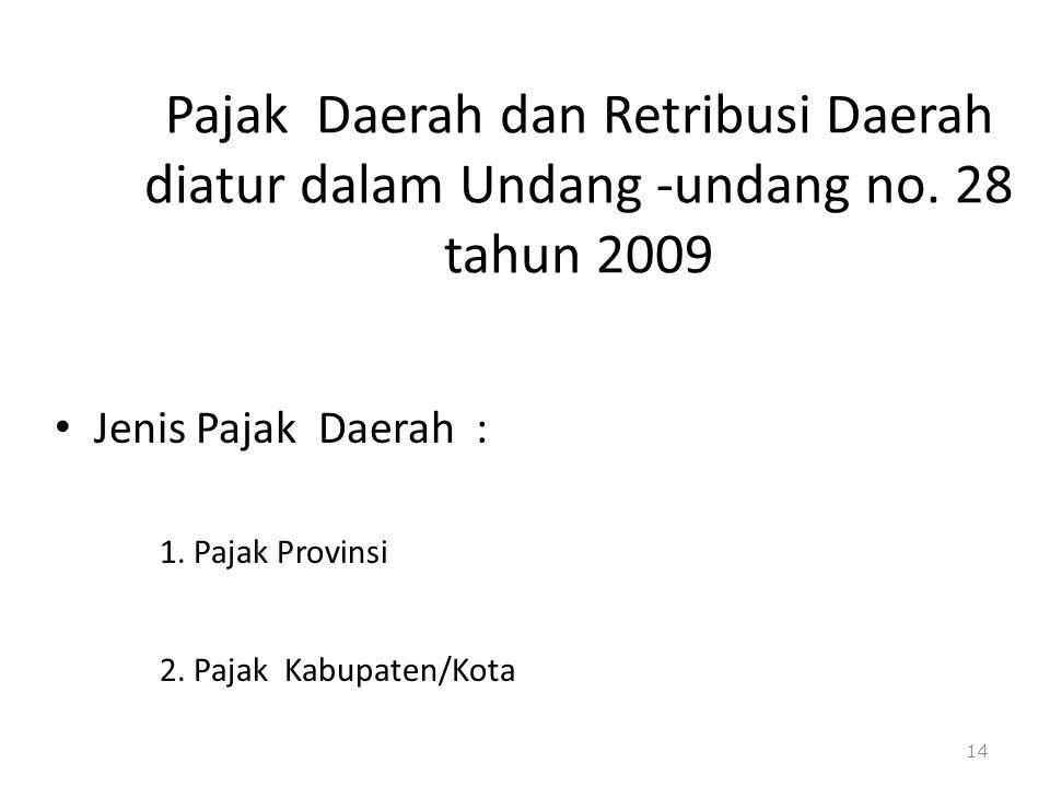 Pajak Daerah dan Retribusi Daerah diatur dalam Undang -undang no. 28 tahun 2009 Jenis Pajak Daerah : 1. Pajak Provinsi 2. Pajak Kabupaten/Kota 14