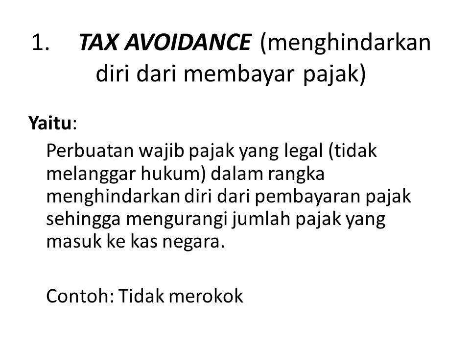 1.TAX AVOIDANCE (menghindarkan diri dari membayar pajak) Yaitu: Perbuatan wajib pajak yang legal (tidak melanggar hukum) dalam rangka menghindarkan di