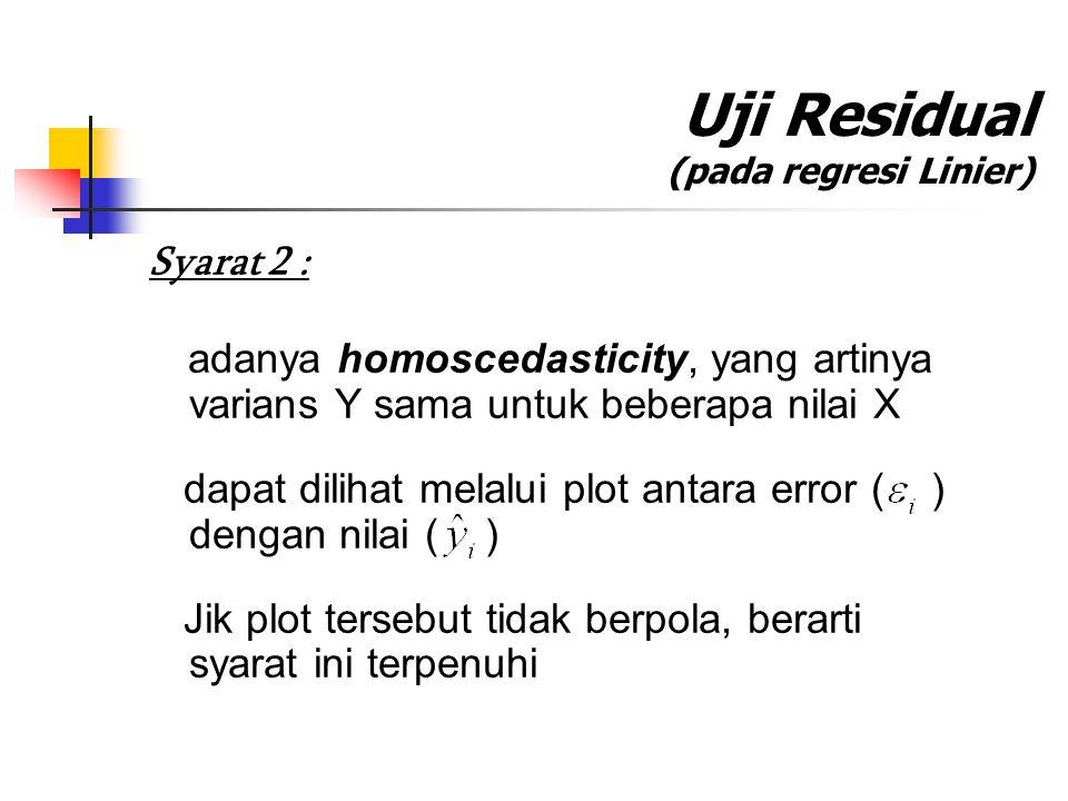 Uji Residual (pada regresi Linier) Syarat 2 : adanya homoscedasticity, yang artinya varians Y sama untuk beberapa nilai X dapat dilihat melalui plot a