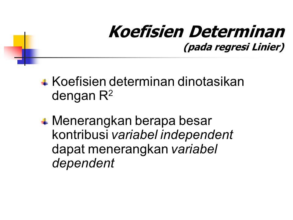 Koefisien Determinan (pada regresi Linier) Koefisien determinan dinotasikan dengan R 2 Menerangkan berapa besar kontribusi variabel independent dapat