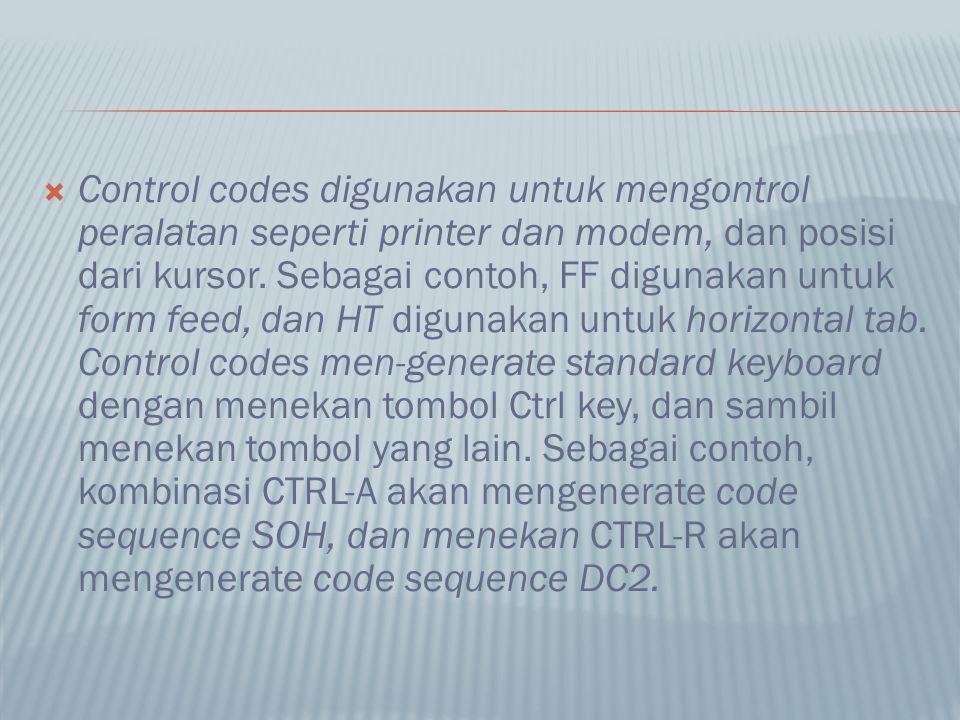  Control codes digunakan untuk mengontrol peralatan seperti printer dan modem, dan posisi dari kursor. Sebagai contoh, FF digunakan untuk form feed,