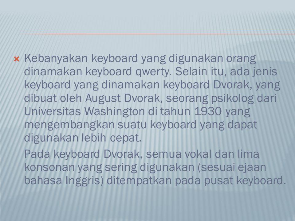  Kebanyakan keyboard yang digunakan orang dinamakan keyboard qwerty. Selain itu, ada jenis keyboard yang dinamakan keyboard Dvorak, yang dibuat oleh