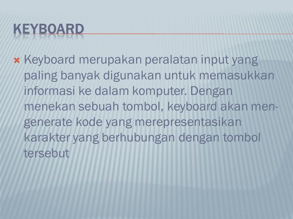  Keyboard merupakan peralatan input yang paling banyak digunakan untuk memasukkan informasi ke dalam komputer. Dengan menekan sebuah tombol, keyboard