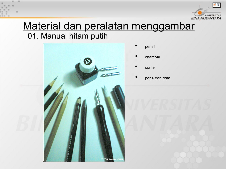 Material dan peralatan menggambar pensil charcoal conte pena dan tinta 01. Manual hitam putih