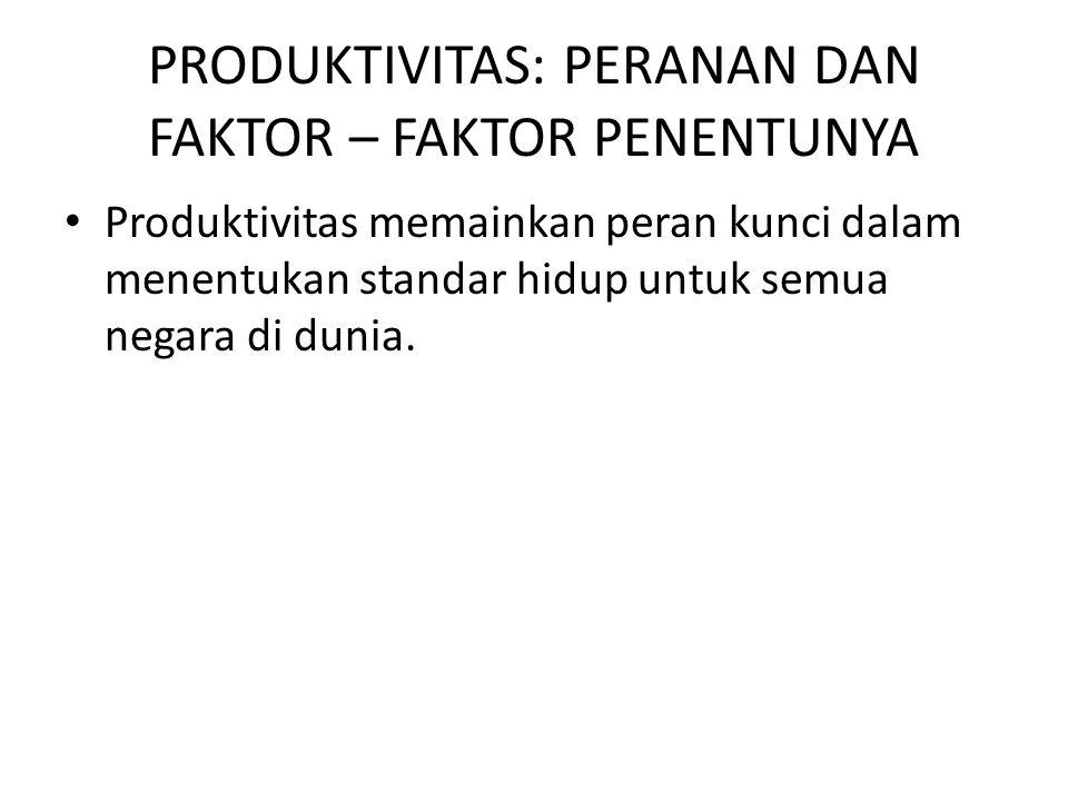 PRODUKTIVITAS: PERANAN DAN FAKTOR – FAKTOR PENENTUNYA Produktivitas memainkan peran kunci dalam menentukan standar hidup untuk semua negara di dunia.