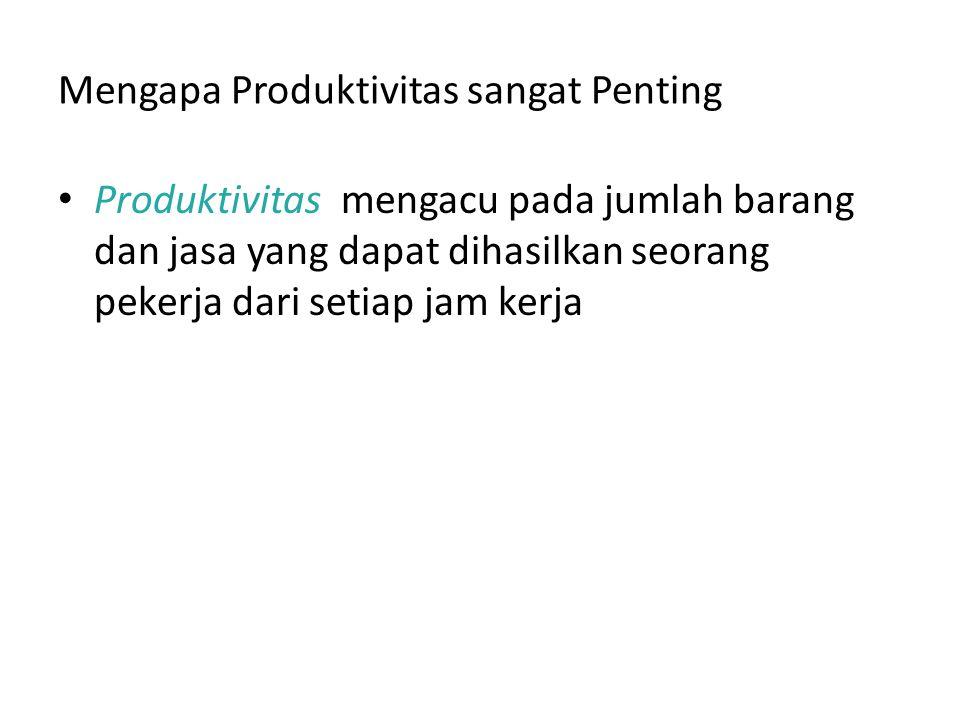 Mengapa Produktivitas sangat Penting Produktivitas mengacu pada jumlah barang dan jasa yang dapat dihasilkan seorang pekerja dari setiap jam kerja