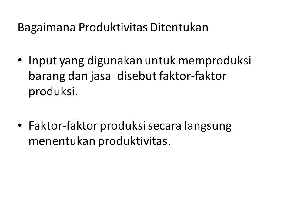 Bagaimana Produktivitas Ditentukan Input yang digunakan untuk memproduksi barang dan jasa disebut faktor-faktor produksi. Faktor-faktor produksi secar
