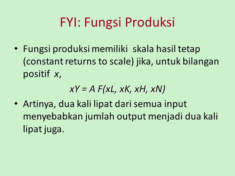 FYI: Fungsi Produksi Fungsi produksi memiliki skala hasil tetap (constant returns to scale) jika, untuk bilangan positif x, xY = A F(xL, xK, xH, xN) A