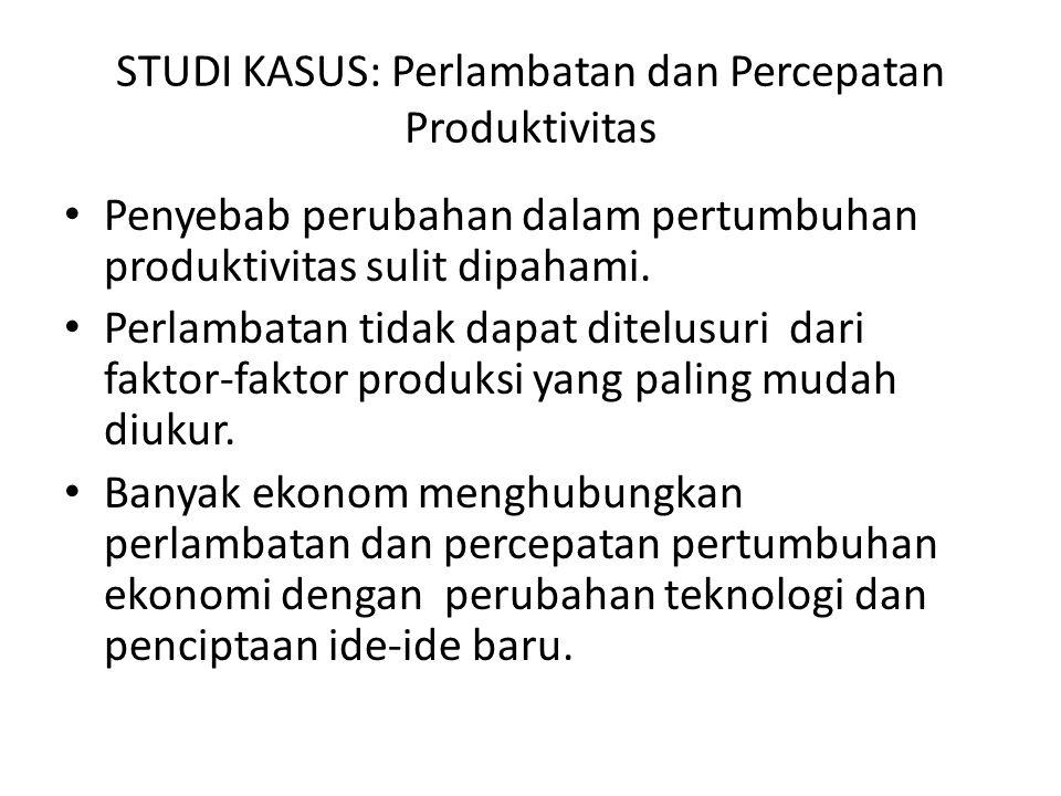 STUDI KASUS: Perlambatan dan Percepatan Produktivitas Penyebab perubahan dalam pertumbuhan produktivitas sulit dipahami. Perlambatan tidak dapat ditel