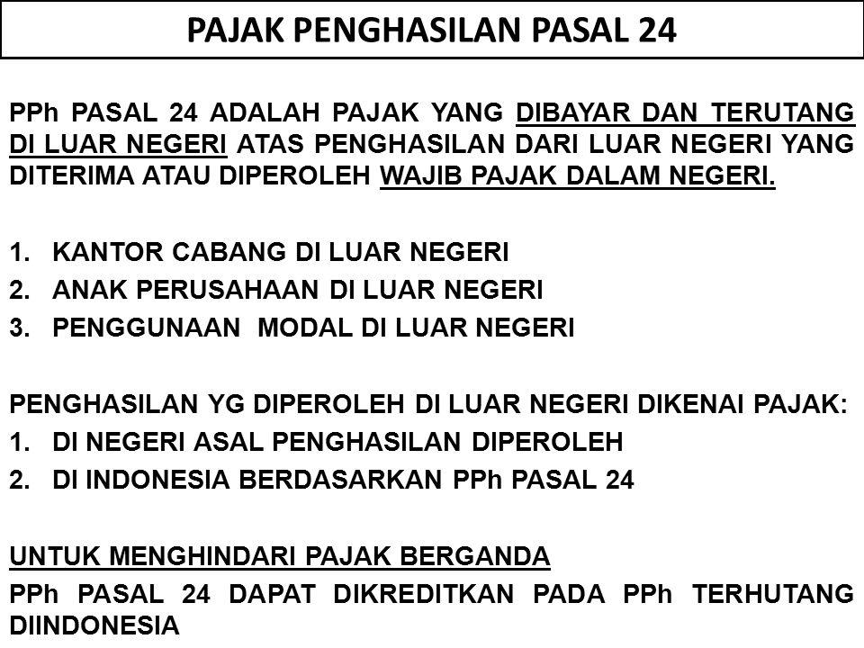 PAJAK PENGHASILAN PASAL 24 PPh PASAL 24 ADALAH PAJAK YANG DIBAYAR DAN TERUTANG DI LUAR NEGERI ATAS PENGHASILAN DARI LUAR NEGERI YANG DITERIMA ATAU DIPEROLEH WAJIB PAJAK DALAM NEGERI.