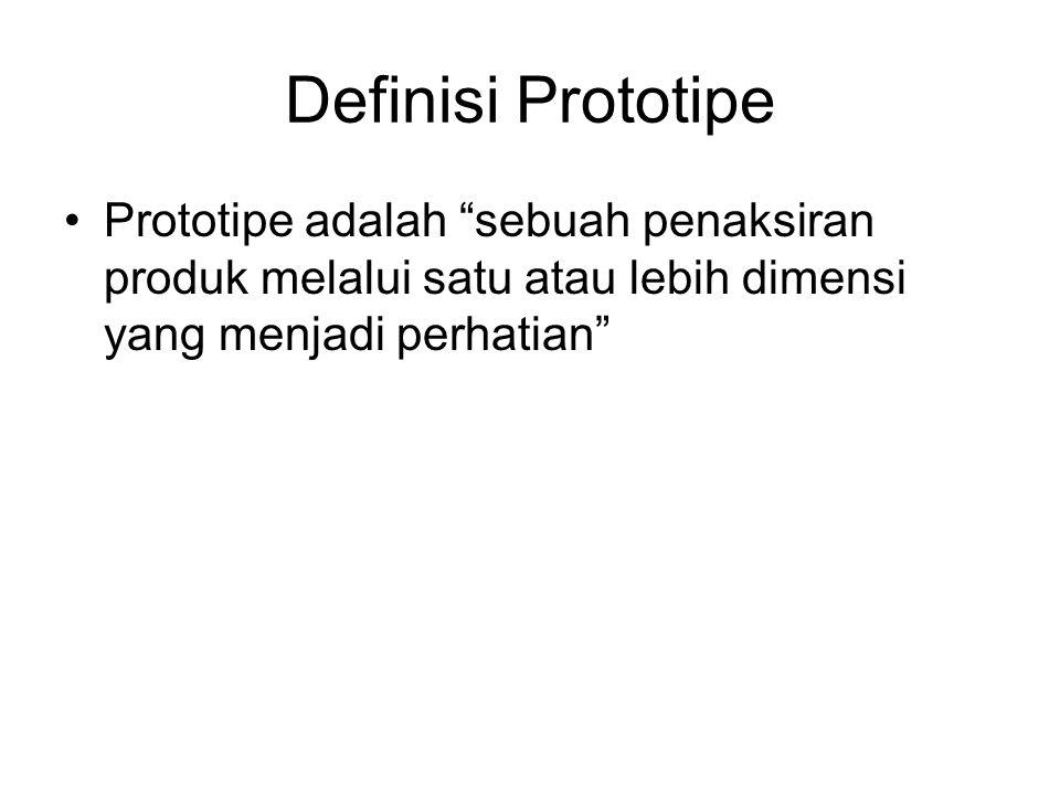 """Definisi Prototipe Prototipe adalah """"sebuah penaksiran produk melalui satu atau lebih dimensi yang menjadi perhatian"""""""