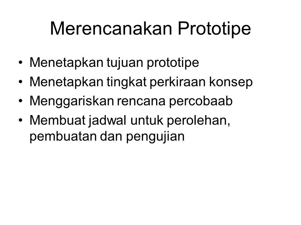 Merencanakan Prototipe Menetapkan tujuan prototipe Menetapkan tingkat perkiraan konsep Menggariskan rencana percobaab Membuat jadwal untuk perolehan,