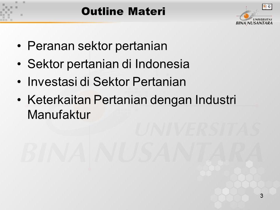 3 Outline Materi Peranan sektor pertanian Sektor pertanian di Indonesia Investasi di Sektor Pertanian Keterkaitan Pertanian dengan Industri Manufaktur