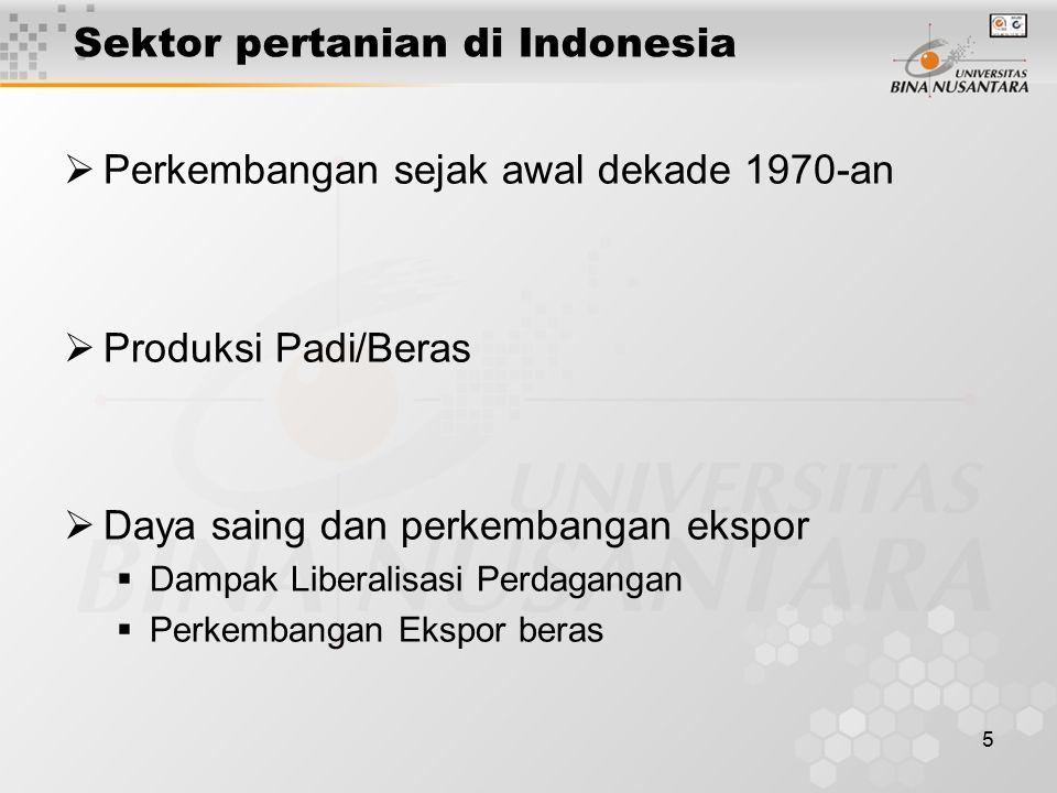 5 Sektor pertanian di Indonesia  Perkembangan sejak awal dekade 1970-an  Produksi Padi/Beras  Daya saing dan perkembangan ekspor  Dampak Liberalis