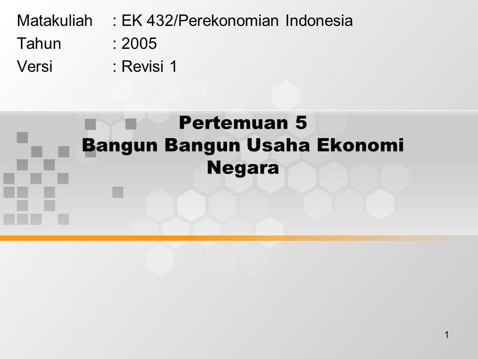 1 Pertemuan 5 Bangun Bangun Usaha Ekonomi Negara Matakuliah: EK 432/Perekonomian Indonesia Tahun: 2005 Versi: Revisi 1