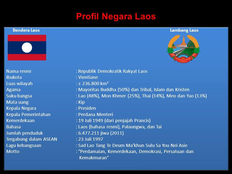 Profil Negara Laos Bendera Laos Lambang Laos Nama resmi: Republik Demokratik Rakyat Laos Ibukota : Vientiane Luas wilayah : ± 236.800 km² Agama : Mayoritas Buddha (50%) dan Tribal, Islam dan Kristen Suku bangsa : Lao (48%), Mon Khmer (25%), Thai (14%), Meo dan Yao (13%) Mata uang : Kip Kepala Negara: Presiden Kepala Pemerintahan: Perdana Menteri Kemerdekaan : 19 Juli 1949 (dari penjajah Prancis) Bahasa : Laos (bahasa resmi), Palaungwa, dan Tai Jumlah penduduk : 6.477.211 jiwa (2011) Tergabung dalam ASEAN: 23 Juli 1997 Lagu kebangsaan : Sad Lao Tang Te Deum Ma'khun Sulu Sa You Nei Asie Motto : Perdamaian, Kemerdekaan, Demokrasi, Persatuan dan Kemakmuran Bendera Laos Lambang Laos Nama resmi: Republik Demokratik Rakyat Laos Ibukota : Vientiane Luas wilayah : ± 236.800 km² Agama : Mayoritas Buddha (50%) dan Tribal, Islam dan Kristen Suku bangsa : Lao (48%), Mon Khmer (25%), Thai (14%), Meo dan Yao (13%) Mata uang : Kip Kepala Negara: Presiden Kepala Pemerintahan: Perdana Menteri Kemerdekaan : 19 Juli 1949 (dari penjajah Prancis) Bahasa : Laos (bahasa resmi), Palaungwa, dan Tai Jumlah penduduk : 6.477.211 jiwa (2011) Tergabung dalam ASEAN: 23 Juli 1997 Lagu kebangsaan : Sad Lao Tang Te Deum Ma'khun Sulu Sa You Nei Asie Motto : Perdamaian, Kemerdekaan, Demokrasi, Persatuan dan Kemakmuran