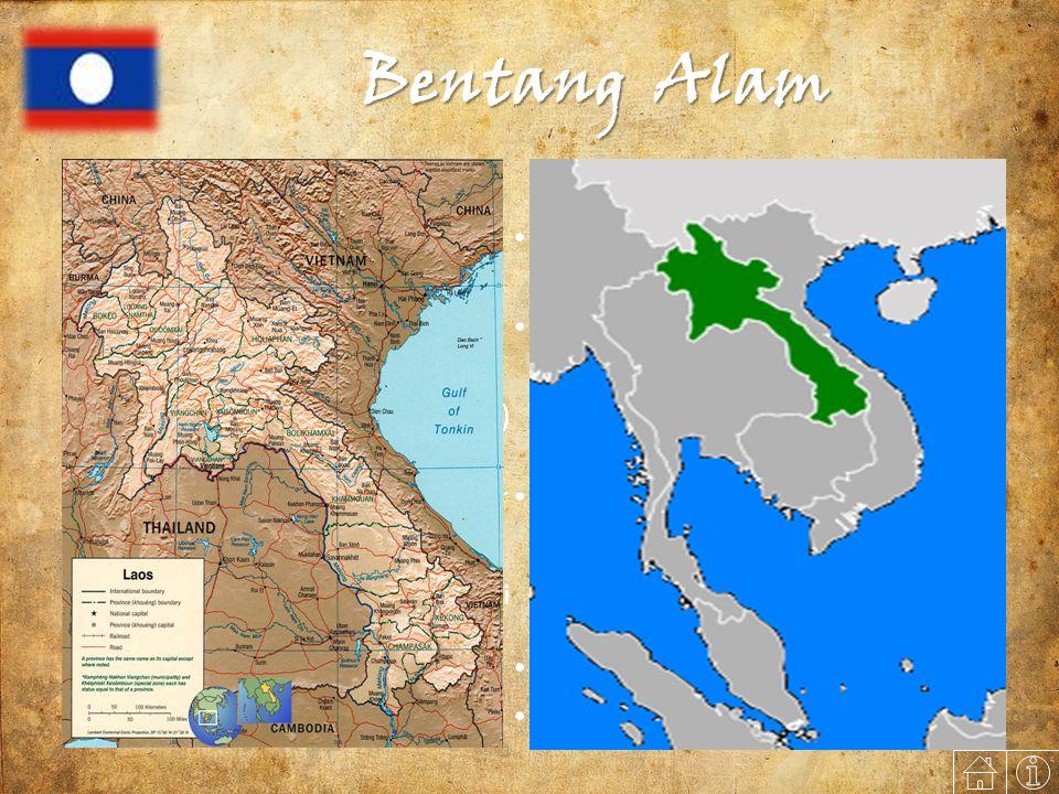 Bentang Alam Letak, Batas, dan Luas Letak Astronomis 14° LU - 22° LU 100° BT - 103° BT Batas Geografis  Barat Laut : Tiongkok (RRC) dan Myanmar  Timur : Vietnam (Peg.