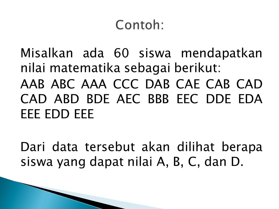 Misalkan ada 60 siswa mendapatkan nilai matematika sebagai berikut: AAB ABC AAA CCC DAB CAE CAB CAD CAD ABD BDE AEC BBB EEC DDE EDA EEE EDD EEE Dari d