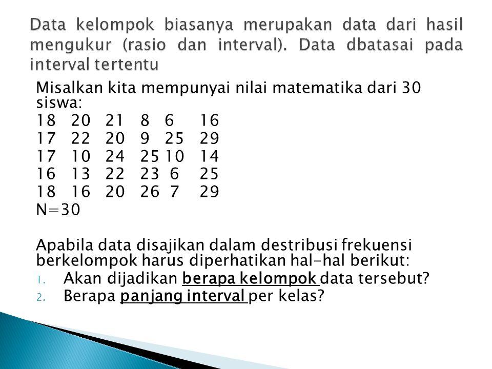 Misalkan kita mempunyai nilai matematika dari 30 siswa: 18 20 21 8 6 16 17 22 20 9 25 29 17 10 24 25 10 14 16 13 22 23 6 25 18 16 20 26 7 29 N=30 Apab