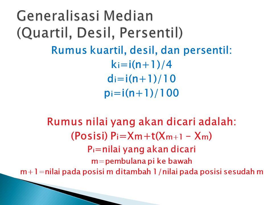 Rumus kuartil, desil, dan persentil: k i =i(n+1)/4 d i =i(n+1)/10 p i =i(n+1)/100 Rumus nilai yang akan dicari adalah: (Posisi) P i =X m +t(X m+1 – X