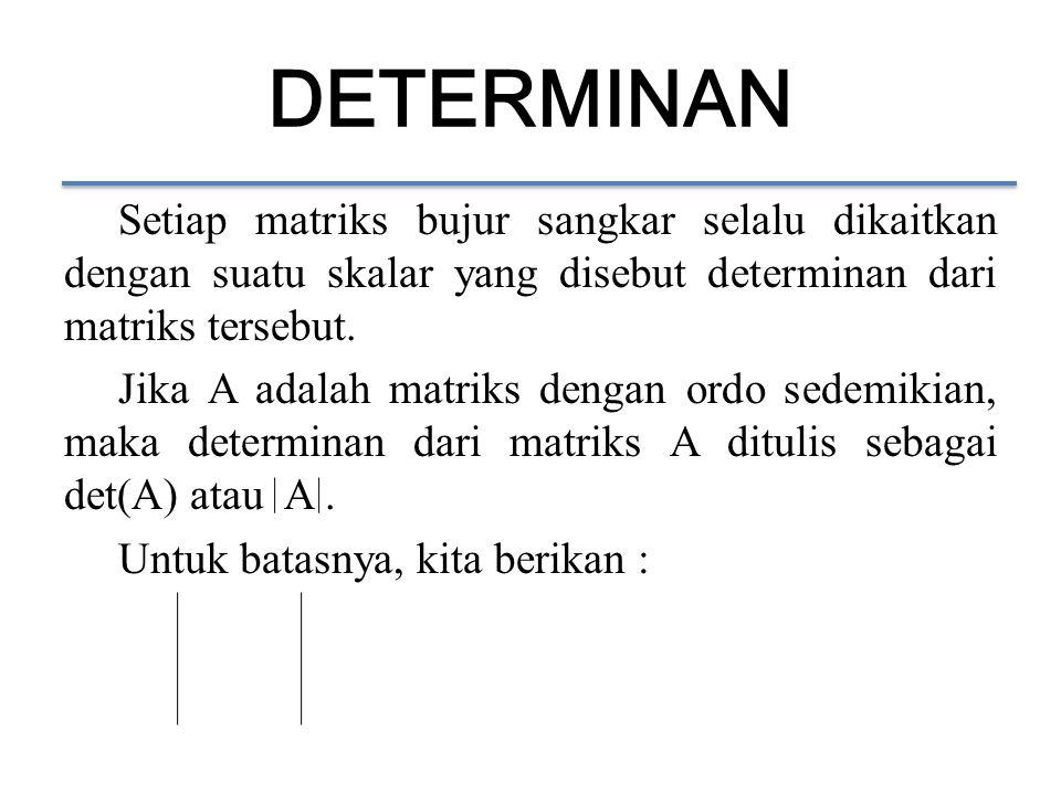 Setiap matriks bujur sangkar selalu dikaitkan dengan suatu skalar yang disebut determinan dari matriks tersebut. Jika A adalah matriks dengan ordo sed