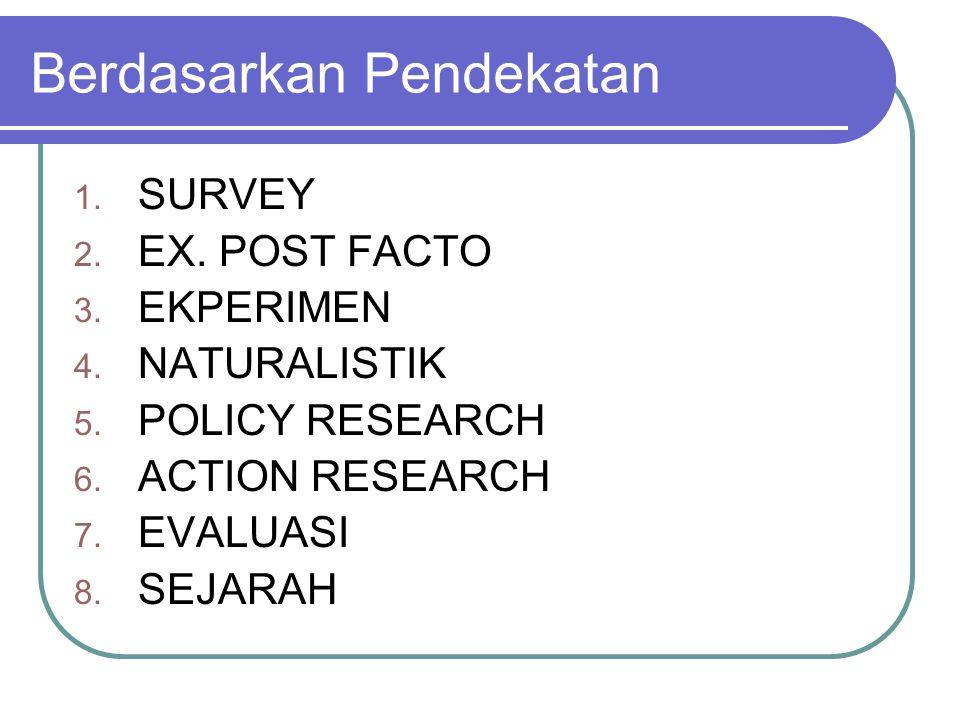 Berdasarkan Pendekatan 1. SURVEY 2. EX. POST FACTO 3. EKPERIMEN 4. NATURALISTIK 5. POLICY RESEARCH 6. ACTION RESEARCH 7. EVALUASI 8. SEJARAH