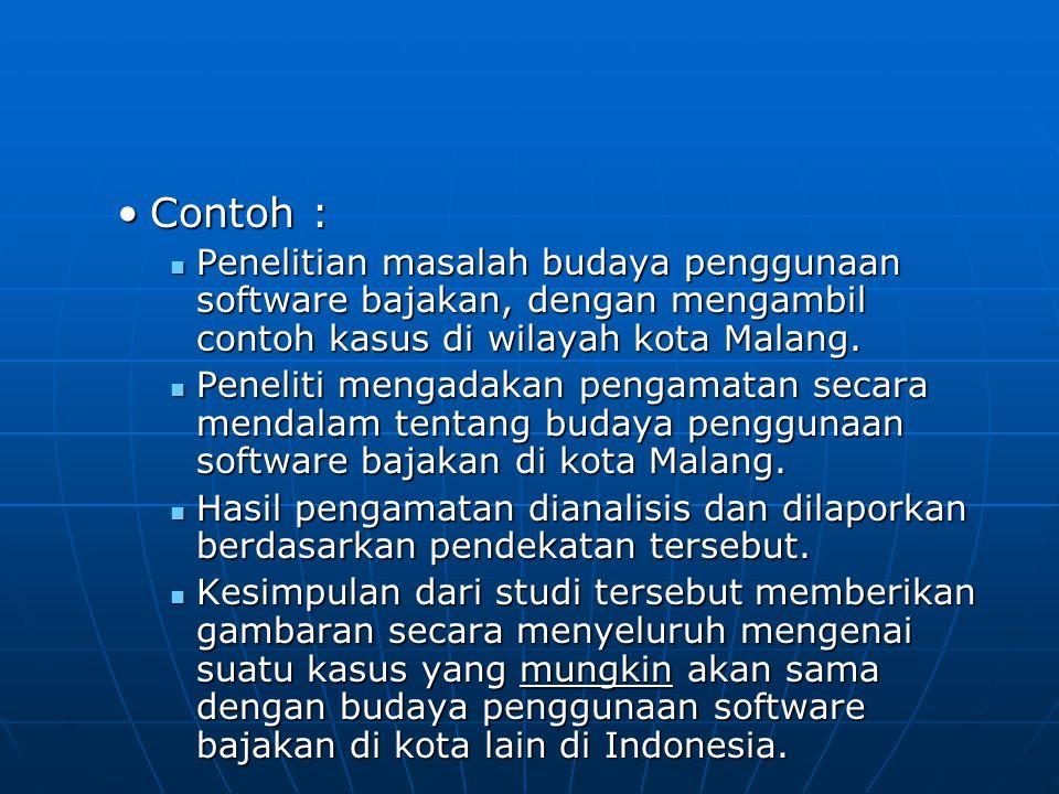 Contoh :Contoh : Penelitian masalah budaya penggunaan software bajakan, dengan mengambil contoh kasus di wilayah kota Malang.