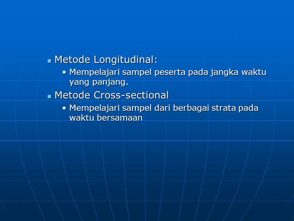 Metode Longitudinal: Metode Longitudinal: Mempelajari sampel peserta pada jangka waktu yang panjang.Mempelajari sampel peserta pada jangka waktu yang