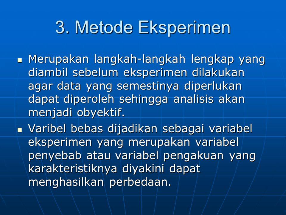 3. Metode Eksperimen Merupakan langkah-langkah lengkap yang diambil sebelum eksperimen dilakukan agar data yang semestinya diperlukan dapat diperoleh