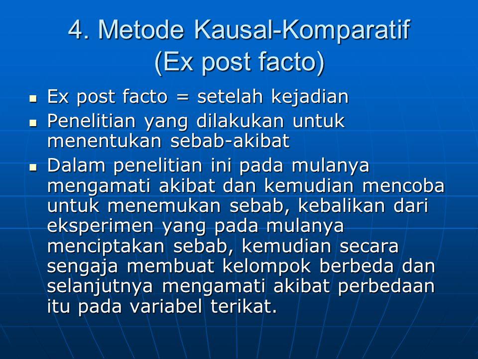 4. Metode Kausal-Komparatif (Ex post facto) Ex post facto = setelah kejadian Ex post facto = setelah kejadian Penelitian yang dilakukan untuk menentuk