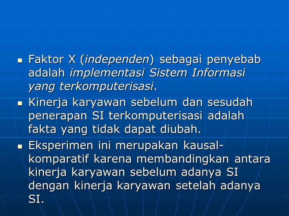 Faktor X (independen) sebagai penyebab adalah implementasi Sistem Informasi yang terkomputerisasi.