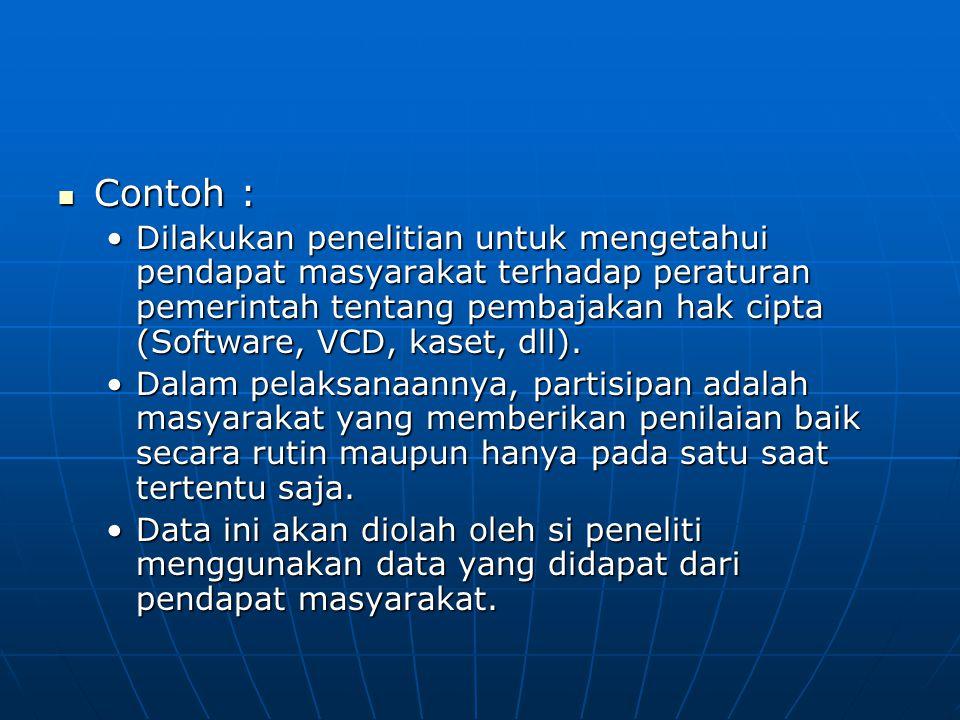 Contoh : Contoh : Dilakukan penelitian untuk mengetahui pendapat masyarakat terhadap peraturan pemerintah tentang pembajakan hak cipta (Software, VCD,