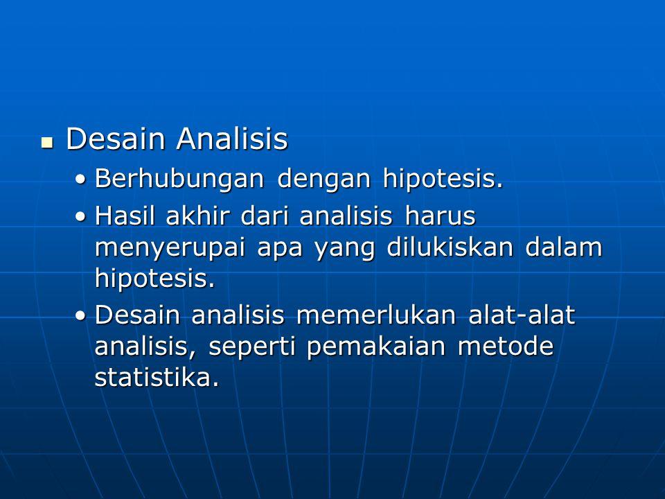 Desain Analisis Desain Analisis Berhubungan dengan hipotesis.Berhubungan dengan hipotesis. Hasil akhir dari analisis harus menyerupai apa yang dilukis