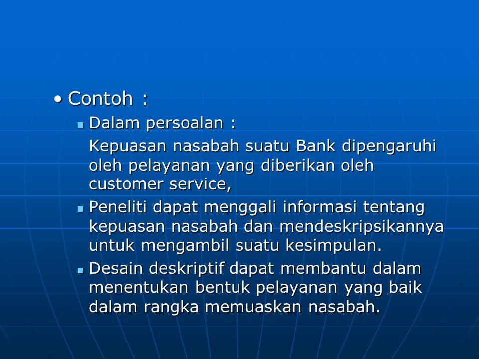 Contoh :Contoh : Dalam persoalan : Dalam persoalan : Kepuasan nasabah suatu Bank dipengaruhi oleh pelayanan yang diberikan oleh customer service, Pene