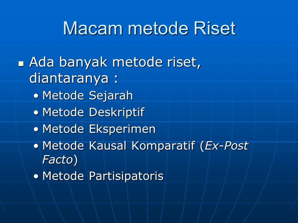 Macam metode Riset Ada banyak metode riset, diantaranya : Ada banyak metode riset, diantaranya : Metode SejarahMetode Sejarah Metode DeskriptifMetode