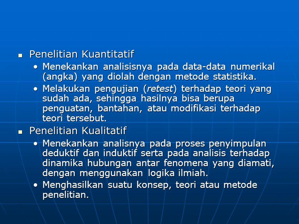 Penelitian Kuantitatif Penelitian Kuantitatif Menekankan analisisnya pada data-data numerikal (angka) yang diolah dengan metode statistika.Menekankan analisisnya pada data-data numerikal (angka) yang diolah dengan metode statistika.