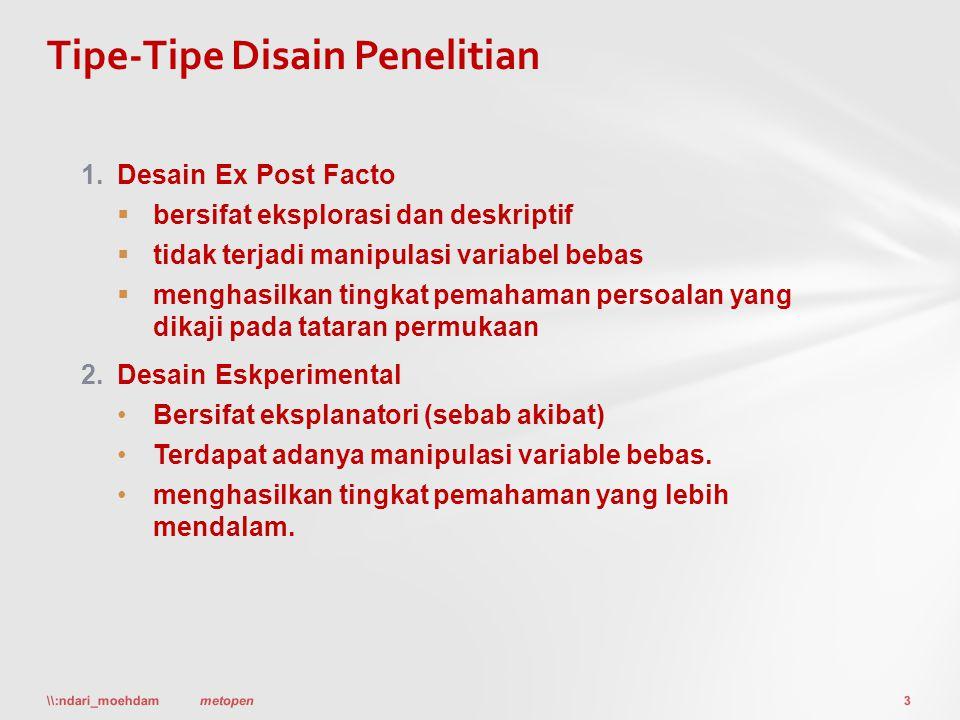 1.Desain Ex Post Facto  bersifat eksplorasi dan deskriptif  tidak terjadi manipulasi variabel bebas  menghasilkan tingkat pemahaman persoalan yang