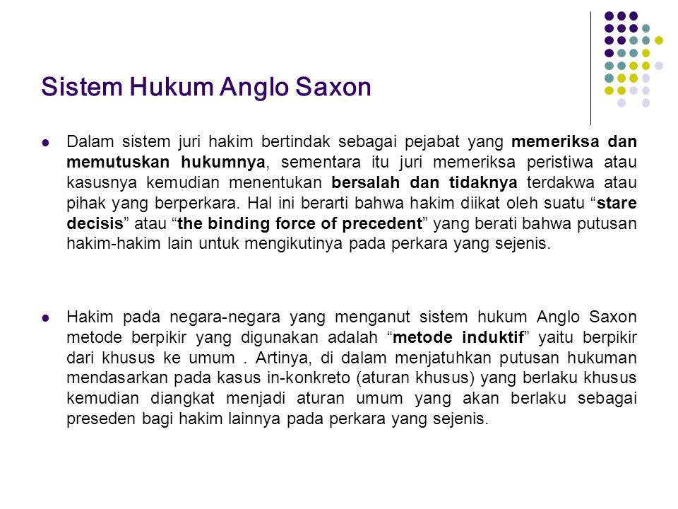 Sistem Hukum Anglo Saxon Dalam sistem juri hakim bertindak sebagai pejabat yang memeriksa dan memutuskan hukumnya, sementara itu juri memeriksa perist
