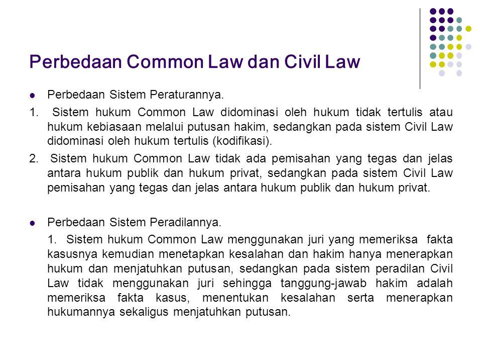 Perbedaan Common Law dan Civil Law Perbedaan Sistem Peraturannya. 1. Sistem hukum Common Law didominasi oleh hukum tidak tertulis atau hukum kebiasaan