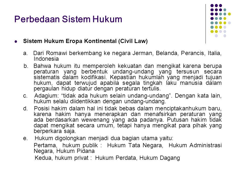 Perbedaan Sistem Hukum Sistem Hukum Eropa Kontinental (Civil Law) a. Dari Romawi berkembang ke negara Jerman, Belanda, Perancis, Italia, Indonesia b.