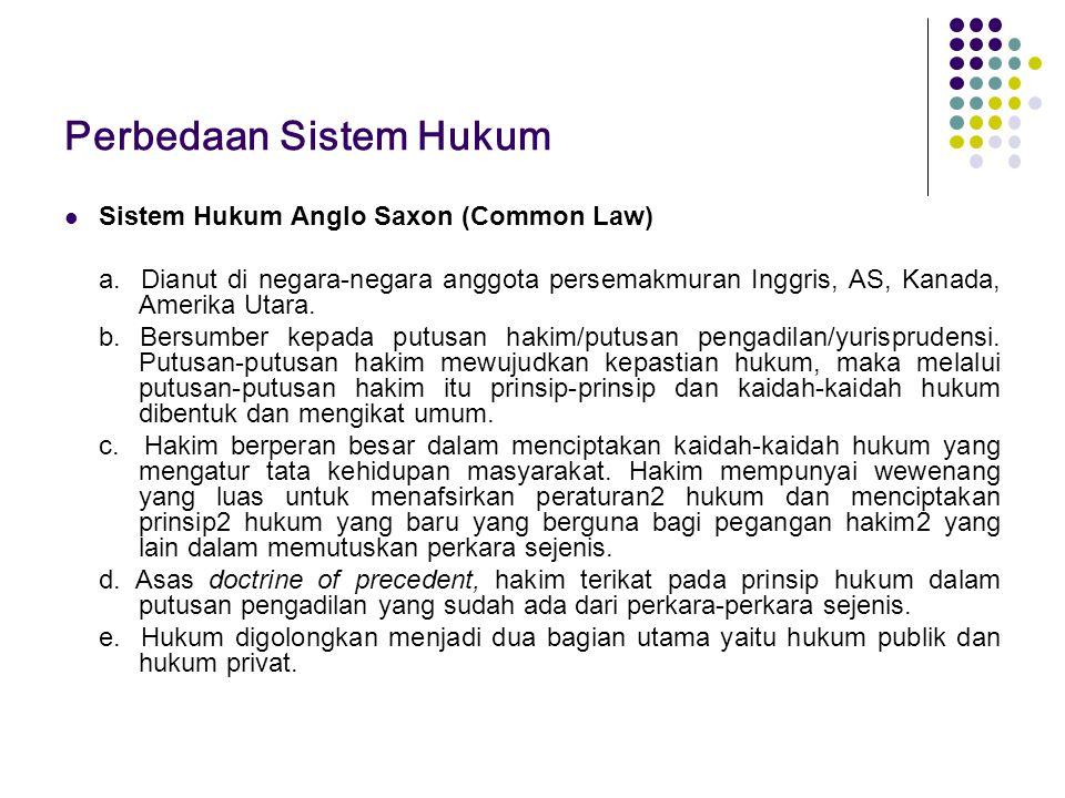Perbedaan Sistem Hukum Sistem Hukum Anglo Saxon (Common Law) a. Dianut di negara-negara anggota persemakmuran Inggris, AS, Kanada, Amerika Utara. b. B
