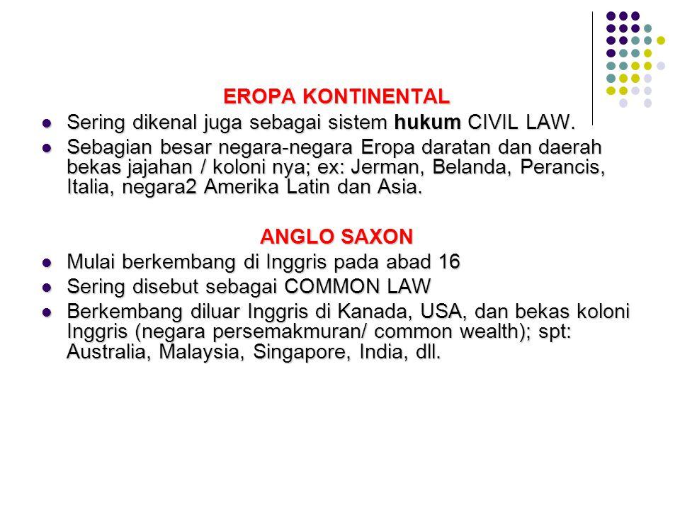 EROPA KONTINENTAL EROPA KONTINENTAL Sering dikenal juga sebagai sistem hukum CIVIL LAW. Sering dikenal juga sebagai sistem hukum CIVIL LAW. Sebagian b