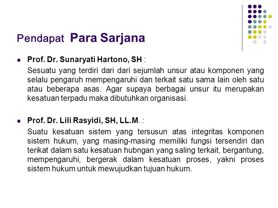 Pendapat Para Sarjana Prof. Dr. Sunaryati Hartono, SH : Sesuatu yang terdiri dari dari sejumlah unsur atau komponen yang selalu pengaruh mempengaruhi