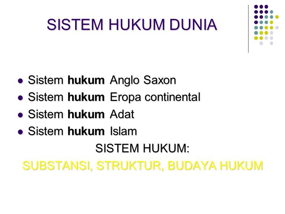 SISTEM HUKUM DUNIA Sistem hukum Anglo Saxon Sistem hukum Anglo Saxon Sistem hukum Eropa continental Sistem hukum Eropa continental Sistem hukum Adat S
