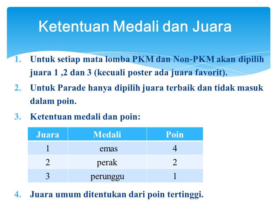 1.Untuk setiap mata lomba PKM dan Non-PKM akan dipilih juara 1,2 dan 3 (kecuali poster ada juara favorit).