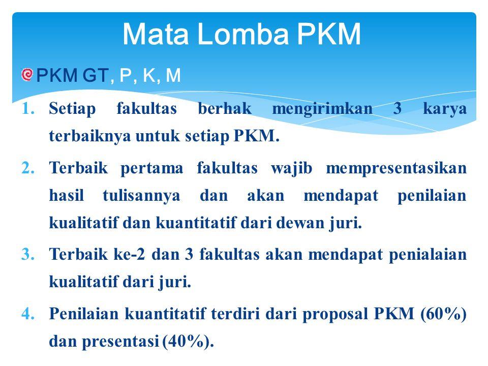 PKM GT, P, K, M  Setiap fakultas berhak mengirimkan 3 karya terbaiknya untuk setiap PKM.